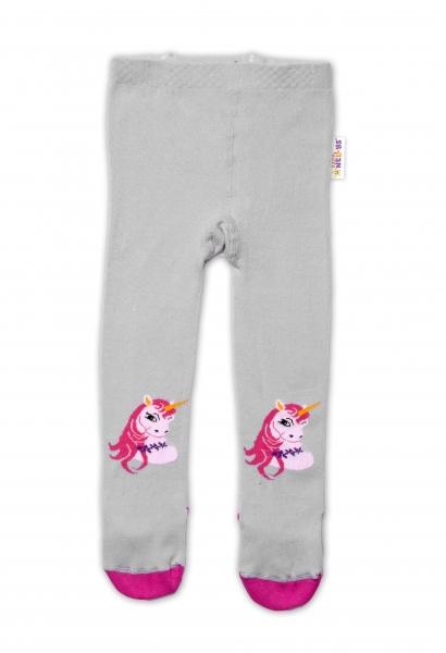 Baby Nellys Bavlnené pančucháče Unicorn - sivé, veľ. 92/98