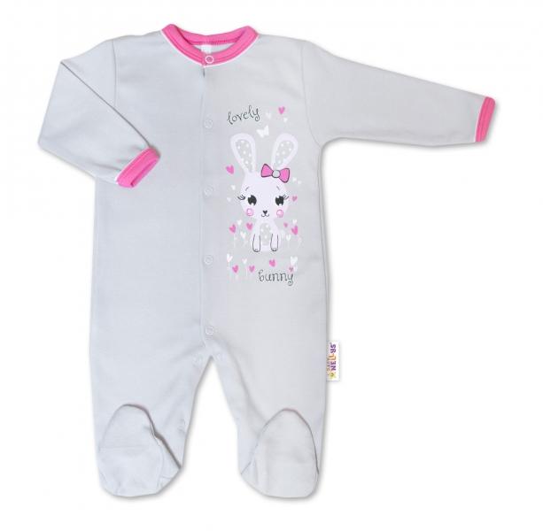 Baby Nellys Bavlnený dojčenský overal Lovely Bunny - sivý / ružový, veľ. 50