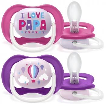 AVENT Cumlík Ultra Air Animals, 6-18m - I Love Papa, ružový/lila