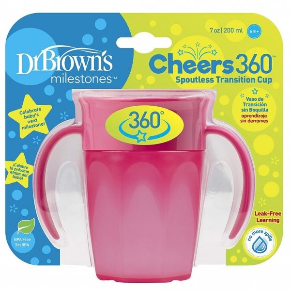 Dr.Browns Kúzelný hrnček s ušami Cheers 360 °, 200ml, ružový