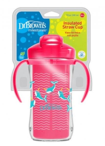 Dr.Browns TTermálne hrnček so slamkou Straw Cup, 300ml, ružový