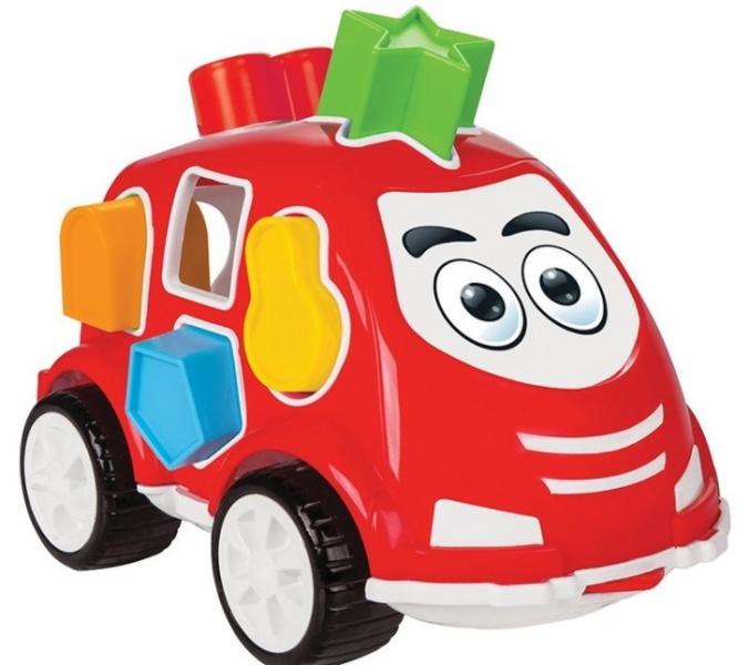 Tulimi Veselé autíčko s geometrickými tvarmi, červené