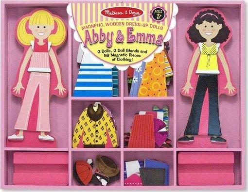 Melissa & Doug Drevené magnetické bábiky na obliekanie Abby a Emma