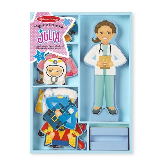 Melissa & Doug Drevená magnetická bábika na obliekanie Julie