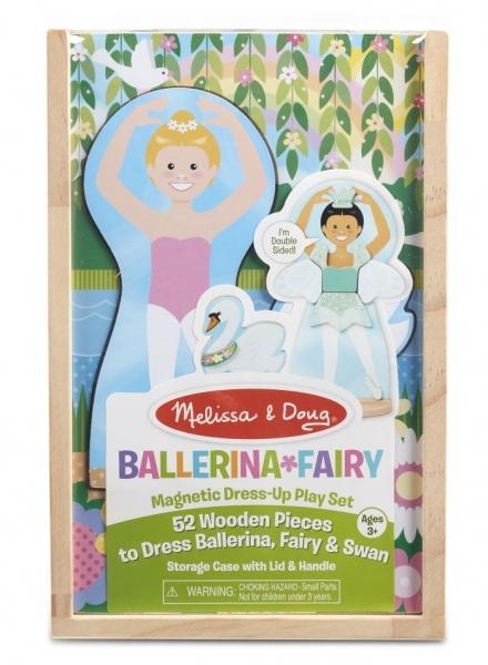 Melissa & Doug Drevená magnetická bábika na obliekanie - Baletka