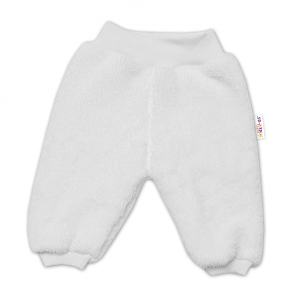 Baby Nellys Dojčenské chlupáčkové tepláčky Cute Bunny - biele, veľ. 62