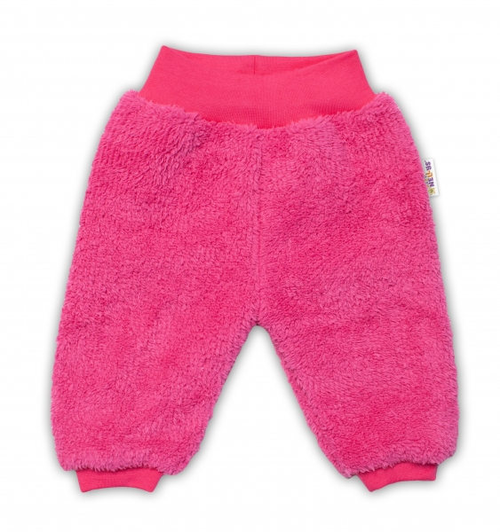 Baby Nellys Dojčenské chlupáčkové tepláčky Cute Bunny - malinové