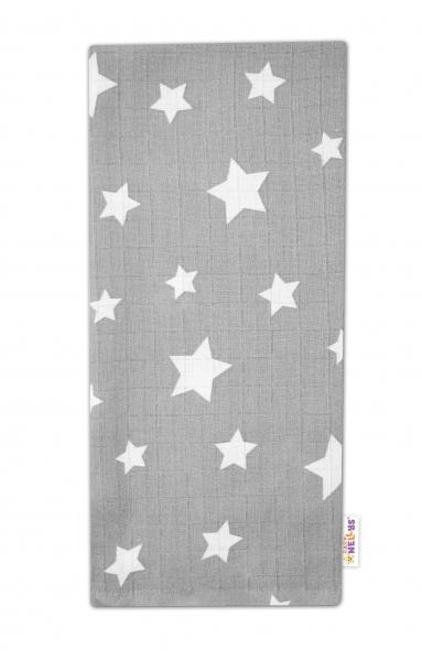 Baby Nellys Kvalitná bavlnená plienka - Tetra Premium, 70x80cm - Hviezdičky biele na šedej