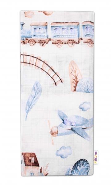 Baby Nellys Kvalitná bavlnená plienka - Tetra Premium, 70x80cm - Vláčik, biela