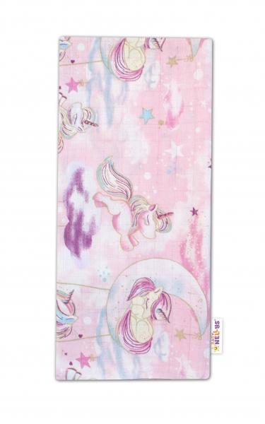 Baby Nellys Kvalitná bavlnená plienka - Tetra Premium, 70x80cm - Jednorožec, ružová