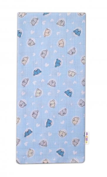 Baby Nellys Kvalitná bavlnená plienka - Tetra Premium, 70x80cm -Medvedík, modrá
