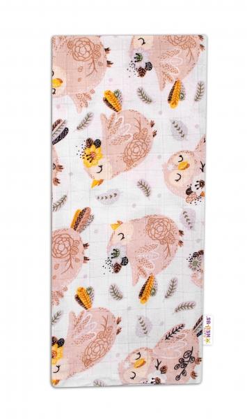 Baby Nellys Kvalitná bavlnená plienka - Tetra Premium, 70x80cm - Vtáčiky, biela/hnedá