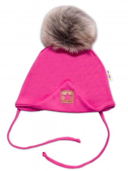 Baby Nellys Bavlnená dvojvrstvová čiapka s brmbolcom na zaväzovanie Star - ružová