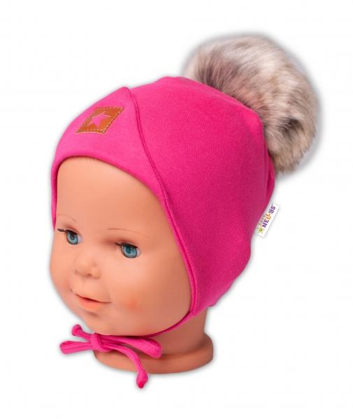 Baby Nellys Bavlnená dvojvrstvová čiapka s brmbolcom na zaväz. Star - ružová, vel. 68/80