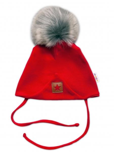 Baby Nellys Bavlnená dvojvrstvová čiapka s brmbolcom na zaväz. Star - červená, vel. 80/86