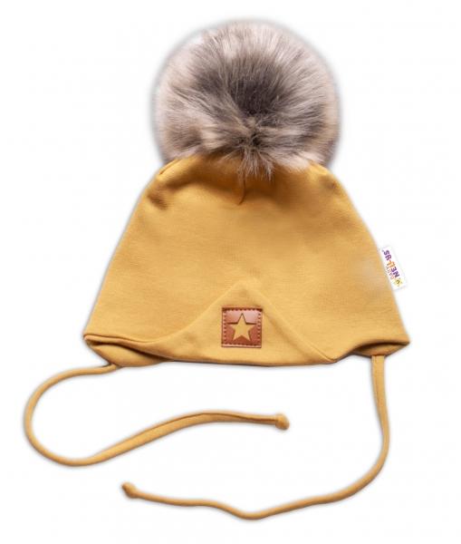 Baby Nellys Bavlnená dvojvrstvová čiapka s brmbolcom na zaväz. Star - horčicová, veľ.68/80