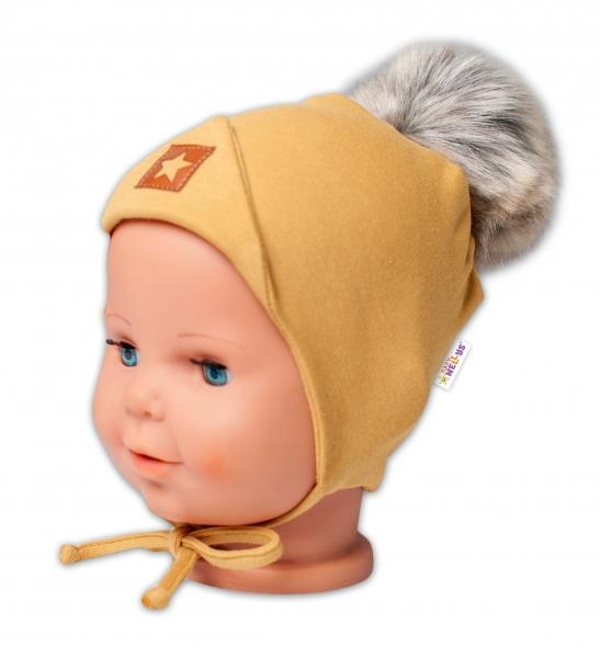 Baby Nellys Bavlnená dvojvrstvová čiapka s brmbolcom na zaväz. Star - horčicová, veľ.80/86