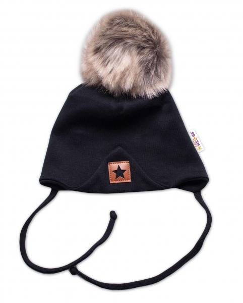 Baby Nellys Bavlnená dvojvrstvová čiapka s brmbolcom na zaväz. Star - čierna, veľ. 68/80