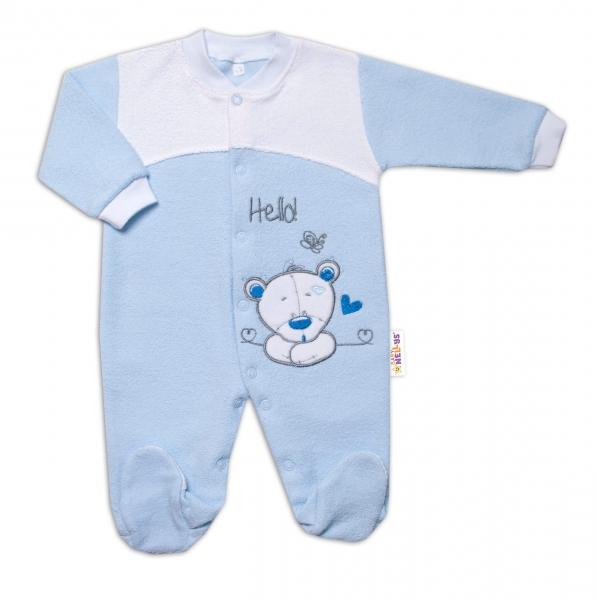 Baby Nellys Dojčenský overal froté, Macko Hello, modrý, veľ. 74
