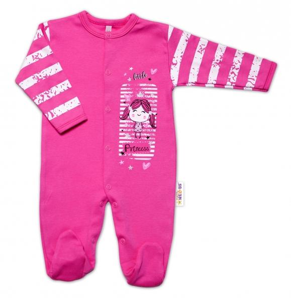 Baby Nellys Bavlnený dojčenský overal Sweet Little Princess, růžový