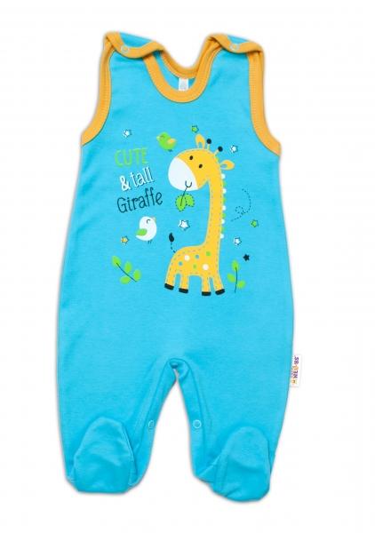 Baby Nellys bavlnené dupačky Giraffe, tyrkysové