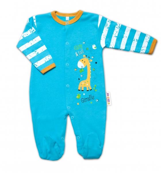 Baby Nellys Bavlnený dojčenský overal Giraffe, tyrkysový