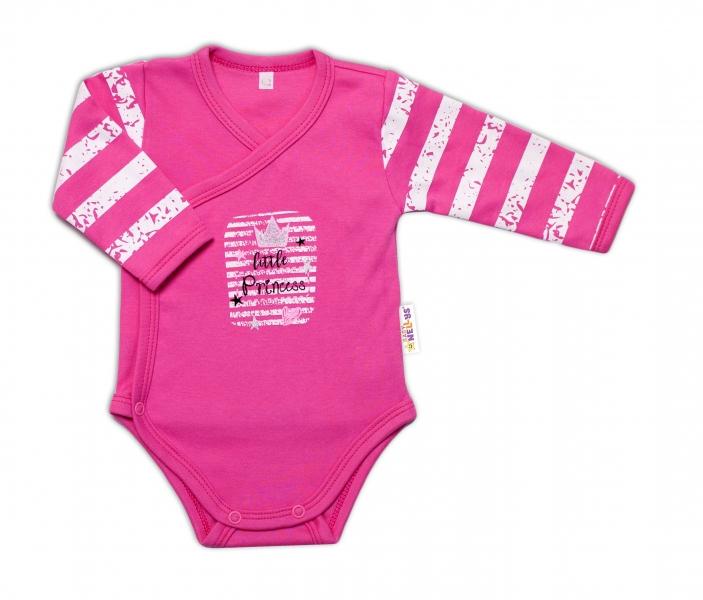 Baby Nellys Dojčenské body, dl. rukáv, zap. bokom Sweet Little Princess, ružová, veľ. 50