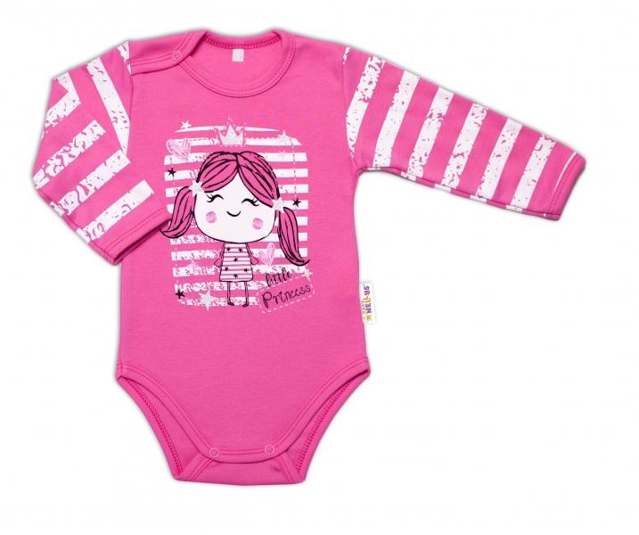 Baby Nellys Dojčenské body, dl. rukáv, Sweet Little Princess, ružová, veľ. 86