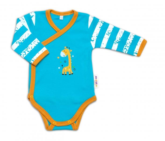 Baby Nellys Dojčenské body, dl. rukáv, zap. bokom Giraffe, tyrkysové, veľ. 50