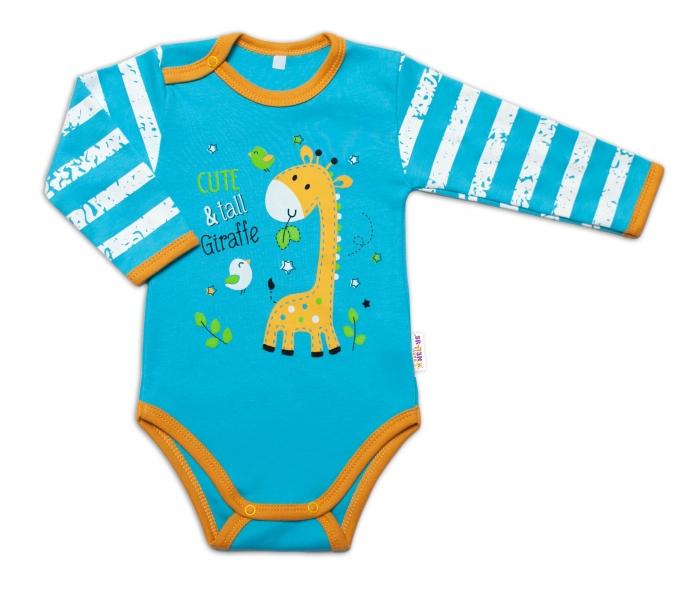 Baby Nellys Dojčenské body, dl. rukáv, Giraffe, tyrkysové, vel. 80