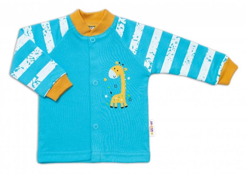 Baby Nellys Bavlnená košieľka Giraffe, tyrkysová, veľ. 74