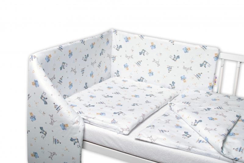 3-dielna sada - mantinel s obliečkami Hračky - biela, 135x100 cm