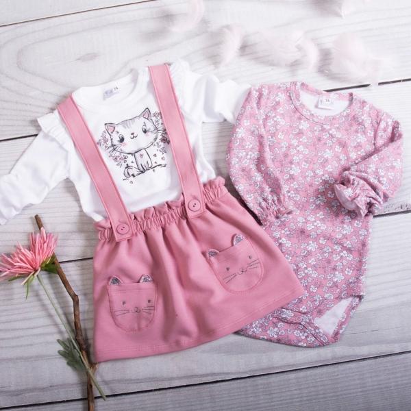 K-Baby 3-dielna sada, 2x body dl. rukáv, suknička s trakmi - Mačička, ružová, veľ. 74