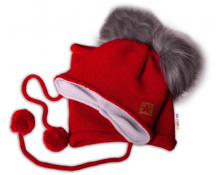 BABY NELLYS Zimná čiapka s fleecom a chlupáčka. bambuľky Star + komínok - červená