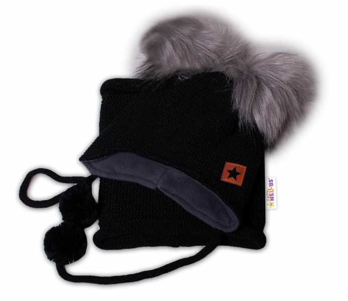 BABY NELLYS Zimná čiapka s fleecom a chlupáčka. bambuľky Star + komínok - čierna