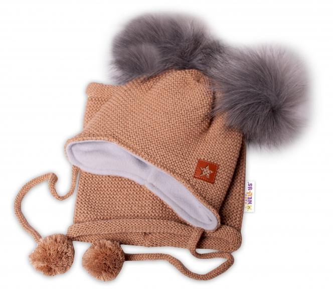 BABY NELLYS Zimná čiapka s fleecom a chlupáčka. bambuľky Star + komínok - medová