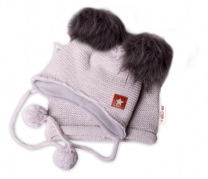 BABY NELLYS Zimná čiapka s fleecom a chlupáčka. bambuľky Star + komínok - sivá