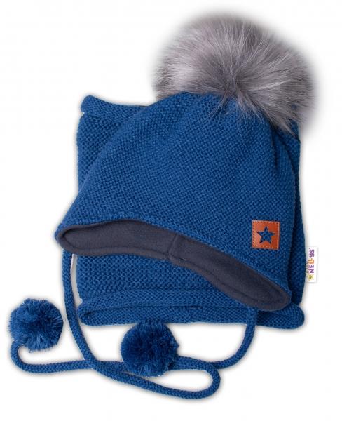 BABY NELLYS Zimná čiapka s fleecom a chlupáčková. bambuľka Star + komínok - granát