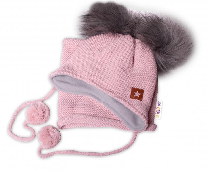 BABY NELLYS Zimná čiapka s fleecom a chlupáčka. bambuľky Star + komínok - pudrová, 104/116