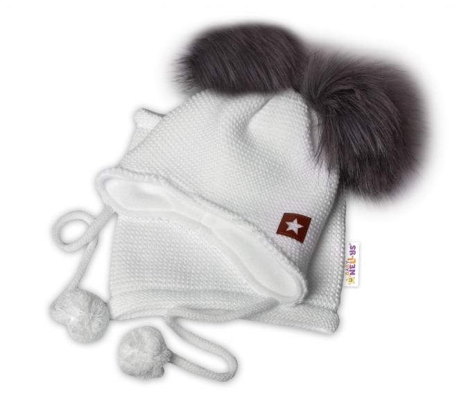 BABY NELLYS Zimná čiapka s fleecom a chlupáčka. bambuľky Star + komínok - biela, 104/116