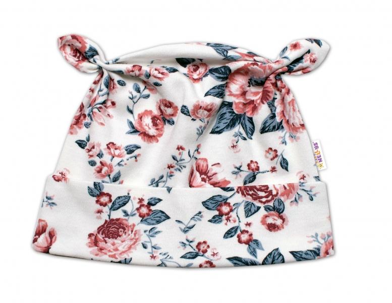 Baby Bavlnená čiapočka uzlíček - Anglická Ruže, pudrová/granát/ecru,  62/68