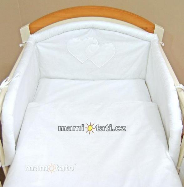 Mantinel + obliečky - Flanel - Srdiečko biele