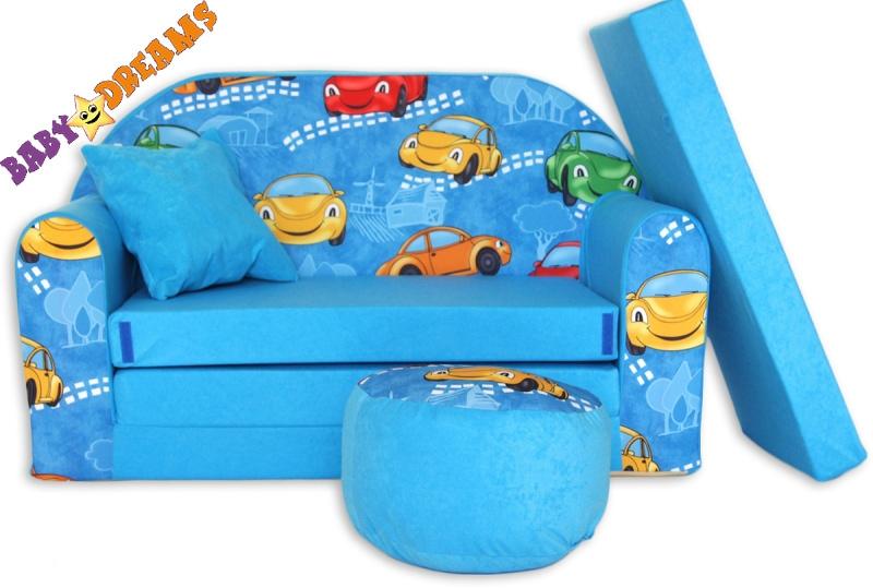 Rozkladacia detská pohovka 02R - Autíčka v modrej