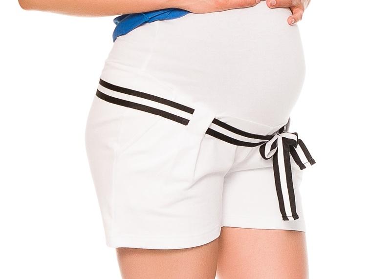 Tehotenské teplákové kraťasy Monika - biele