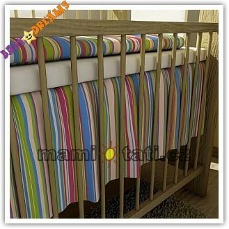 Volánik pod matrac BABY DREAMS - Prúžok amarant, 120x60