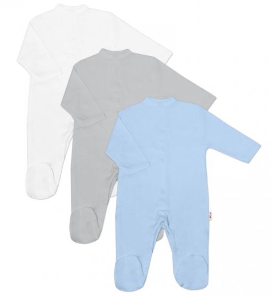 Baby Nellys Dojčenská chlapčenská sada OVERAL BASIC - modrá, šedá, biela - 3 ks, veľ. 56