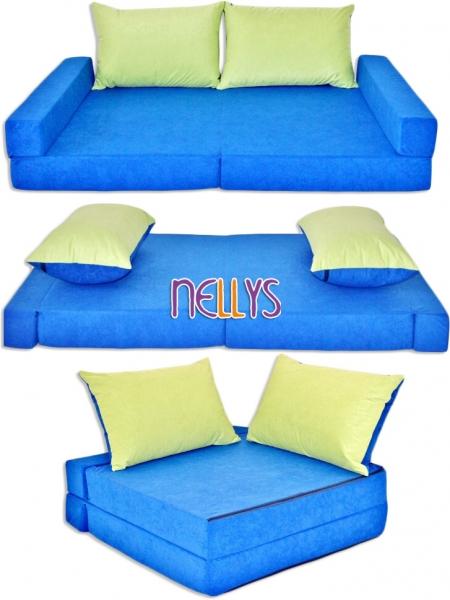 NELLYS Rozkladacia detská pohovka 3 v 1 - P10 - Modráú zelená