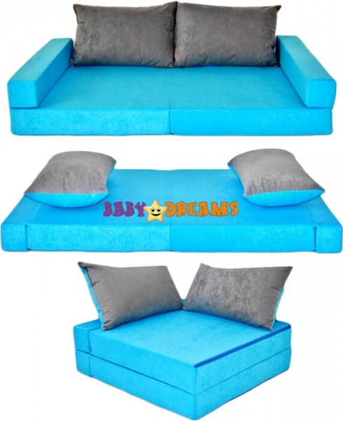NELLYS Rozkladacia detská pohovka 3 v 1 - P12 - Modrá/sivá