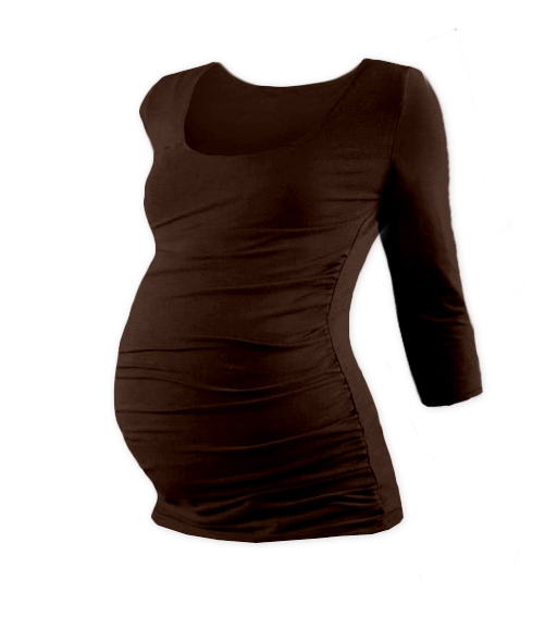 Tehotenské tričko 3/4 rukáv Johanka - čokoládová