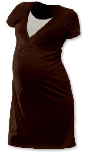 Tehotenská, dojčiace nočná košeľa JOHANKA krátky rukáv - čokohnedá veľ. M/L